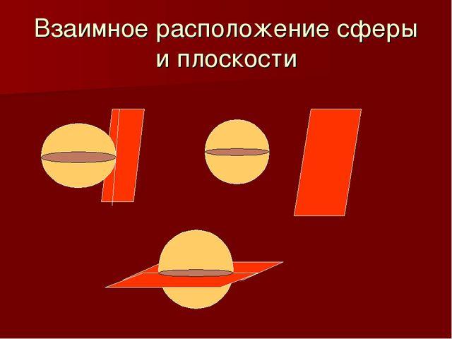 Взаимное расположение сферы и плоскости