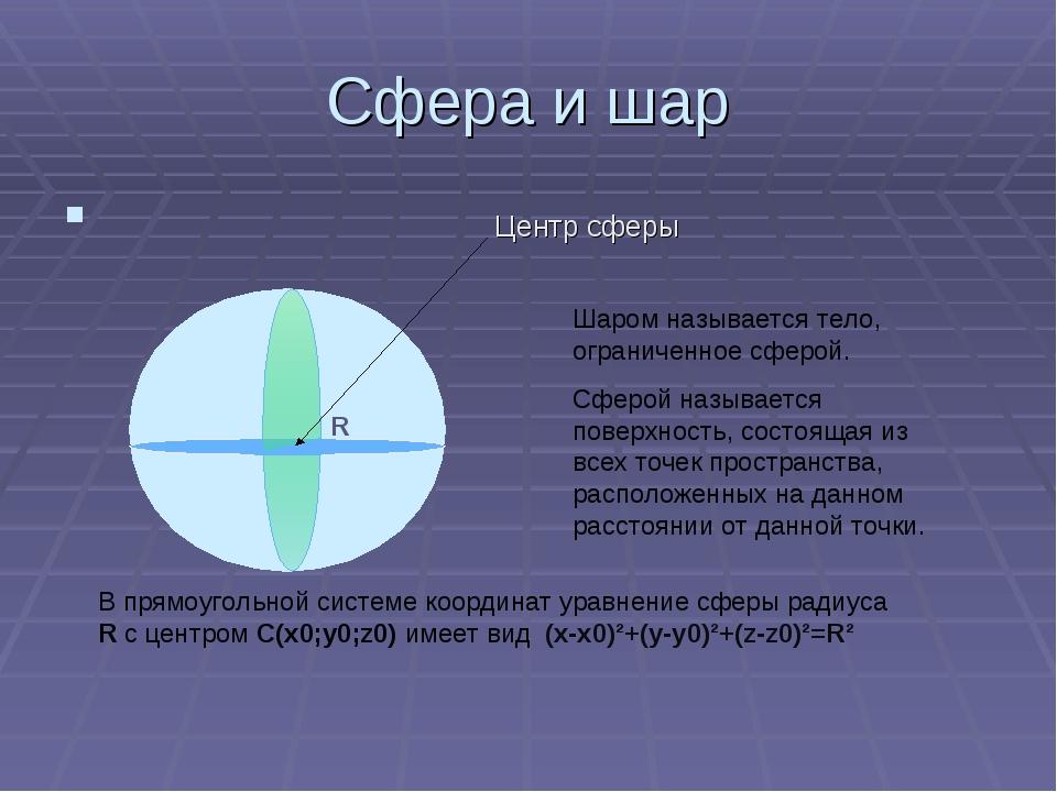 Сфера и шар Центр сферы R Шаром называется тело, ограниченное сферой. Сферой...