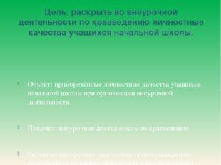 Цель: раскрыть во внеурочной деятельности по краеведению личностные качества