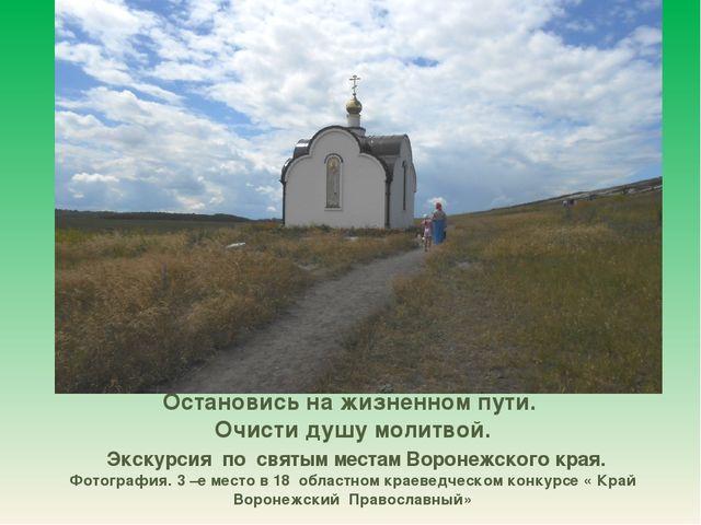 Остановись на жизненном пути. Очисти душу молитвой. Экскурсия по святым места...