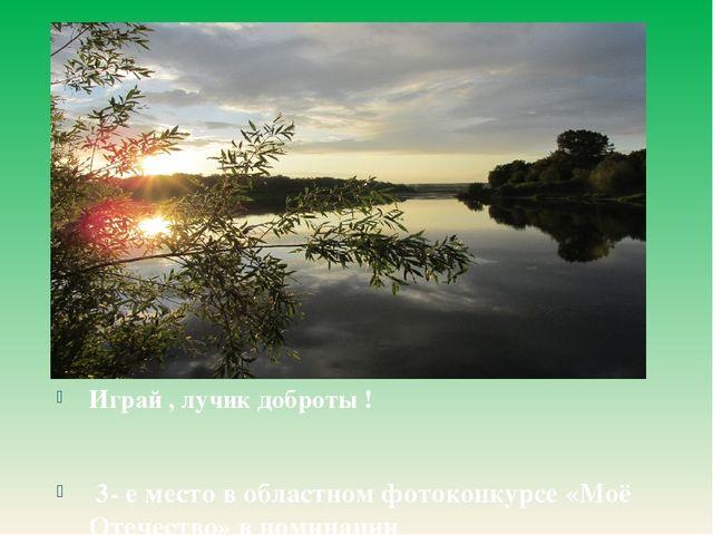 Играй , лучик доброты ! 3- е место в областном фотоконкурсе «Моё Отечество»...