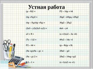 Устная работа (p– 8)2= P2– 16p +64 (6p +5q)2= 36p2+60pq +25q2 (6p – 5q)(6p +5