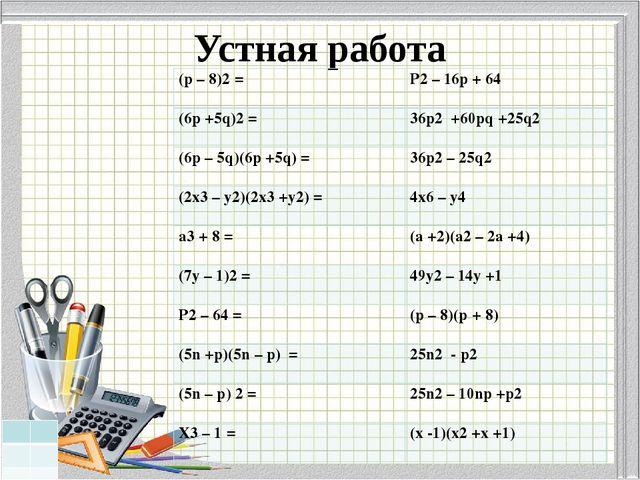 Устная работа (p– 8)2= P2– 16p +64 (6p +5q)2= 36p2+60pq +25q2 (6p – 5q)(6p +5...