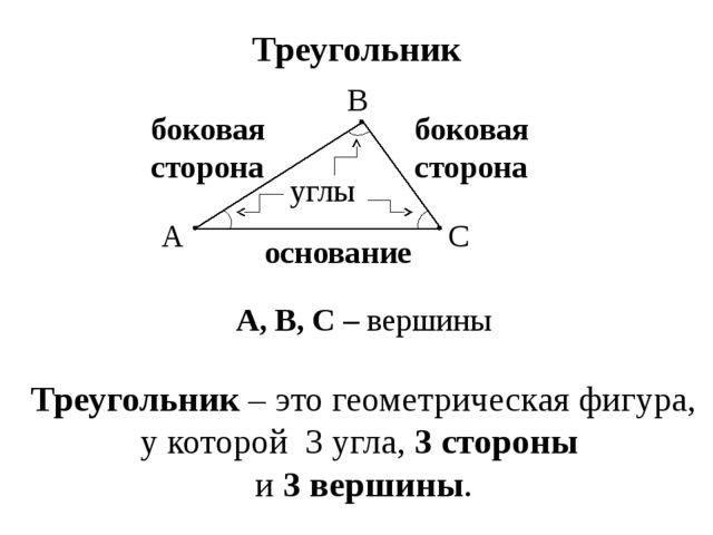 боковая сторона Треугольник основание боковая сторона углы А, В, С – вершины...