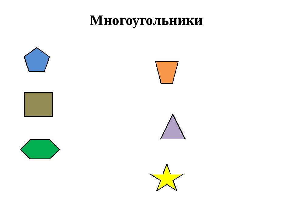 Многоугольники пятиугольник четырёхугольник четырёхугольник треугольник шести...