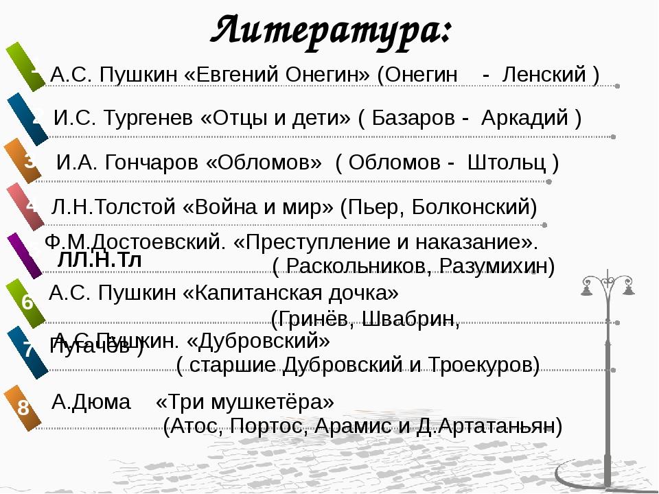 Литература: А.С. Пушкин «Евгений Онегин» (Онегин - Ленский ) И.С. Тургенев «О...