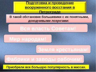 Подготовка и проведение вооруженного восстания в Петрограде В такой обстановк