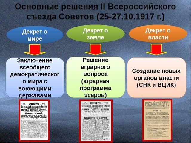 Основные решения II Всероссийского съезда Советов (25-27.10.1917 г.) Декрет...