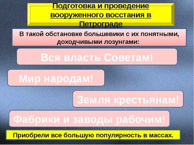 Подготовка и проведение вооруженного восстания в Петрограде В такой обстановк...