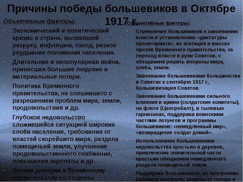 Причины победы большевиков в Октябре 1917 г. Объективные факторы: Экономичес...