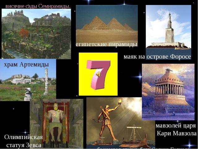 египетские пирамиды маяк на острове Форосе мавзолей царя Кари Мавзола бронзов...