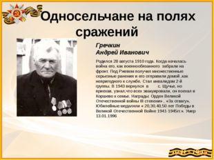 Односельчане на полях сражений Гречкин Андрей Иванович Родился 28 августа 19