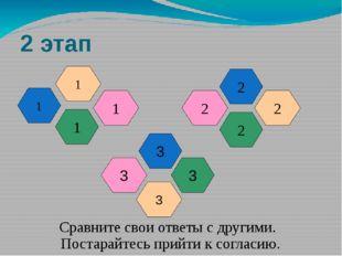 2 этап 1 2 1 2 1 2 1 2 Сравните свои ответы с другими. Постарайтесь прийти к