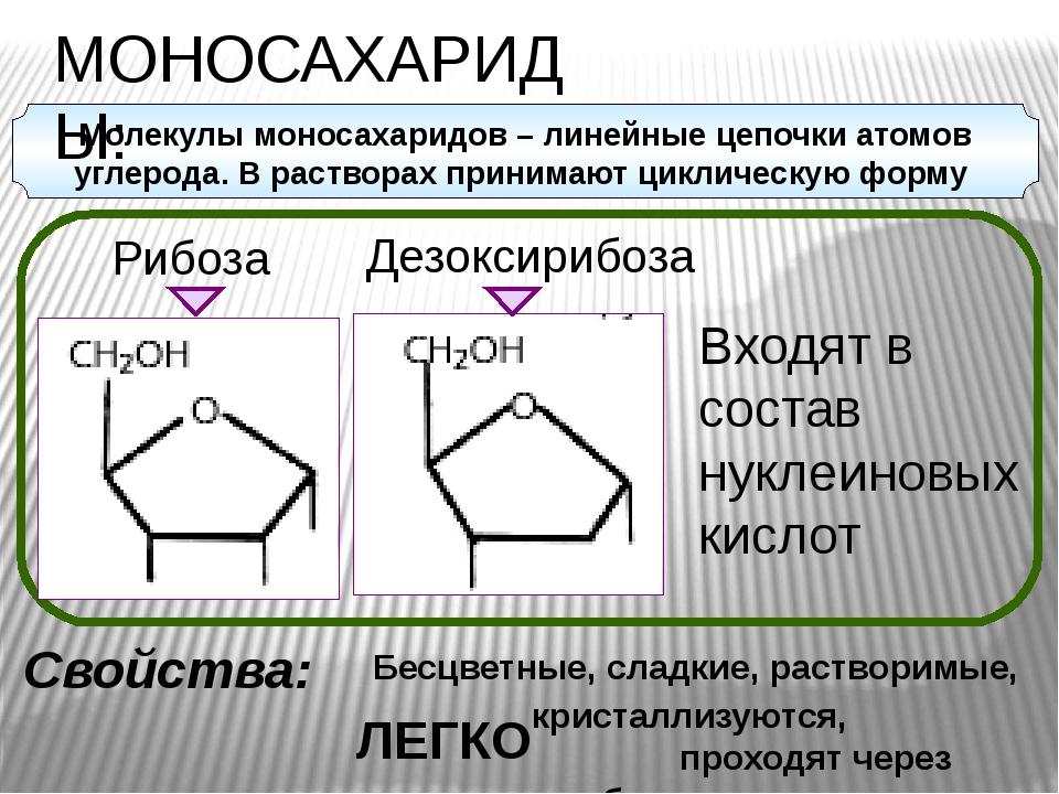 Рибоза Дезоксирибоза МОНОСАХАРИДЫ: Свойства: Бесцветные, сладкие, растворимы...
