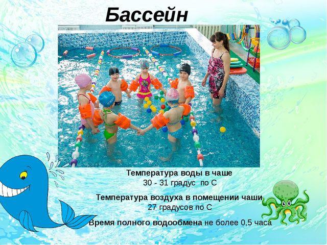 Бассейн Температура воды в чаше 30 - 31 градус по С Температура воздуха в пом...
