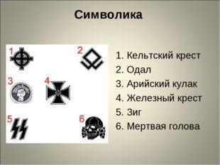 Символика 1. Кельтский крест 2. Одал 3. Арийский кулак 4. Железный крест 5. З