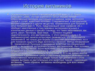 История витаминов Основоположник учения о витаминов русский врач Н. И. Лунин