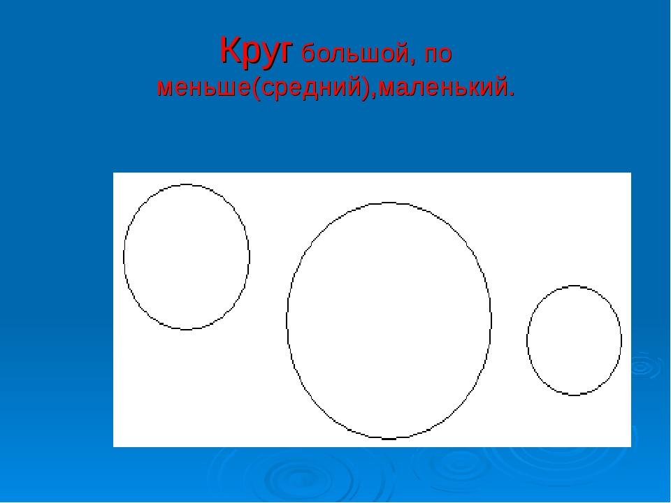 Круг большой, по меньше(средний),маленький.