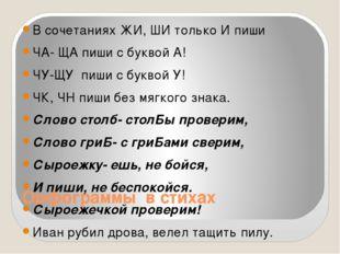Орфограммы в стихах В сочетаниях ЖИ, ШИ только И пиши ЧА- ЩА пиши с буквой А!