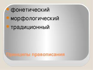 Принципы правописания фонетический морфологический традиционный