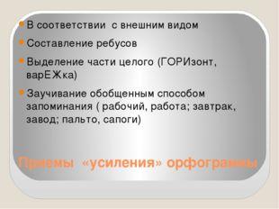 Приемы «усиления» орфограммы В соответствии с внешним видом Составление ребус