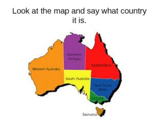 Look at the map and say what country it is.