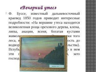 «Вечерний утес» Ф. Буссе, известный дальневосточный краевед 1850 годов привод