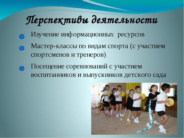 Перспективы деятельности Изучение информационных ресурсов Мастер-классы по ви...