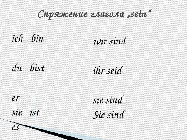 """Спряжение глагола """"sein"""" ich bin du bist er sie ist es wir sind ihr seid sie..."""