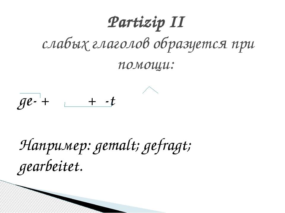 ge- +  + -t Например: gemalt; gefragt; gearbeitet. Partizip II слабых г...
