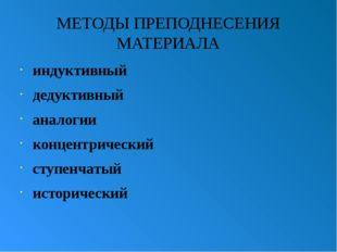 МЕТОДЫ ПРЕПОДНЕСЕНИЯ МАТЕРИАЛА индуктивный дедуктивный аналогии концентрическ