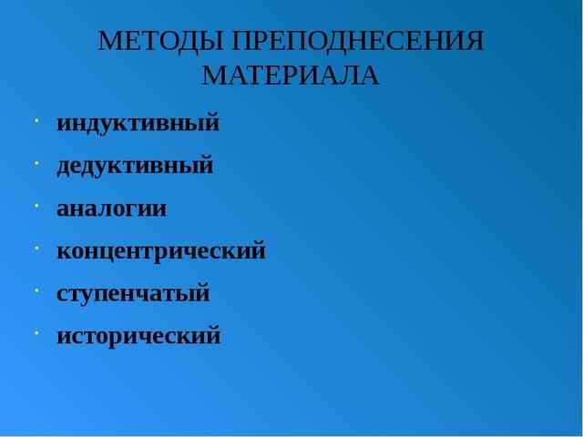 МЕТОДЫ ПРЕПОДНЕСЕНИЯ МАТЕРИАЛА индуктивный дедуктивный аналогии концентрическ...