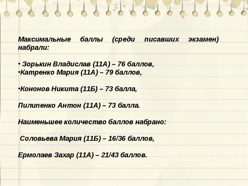 Максимальные баллы (среди писавших экзамен) набрали: Зорькин Владислав (11А)...