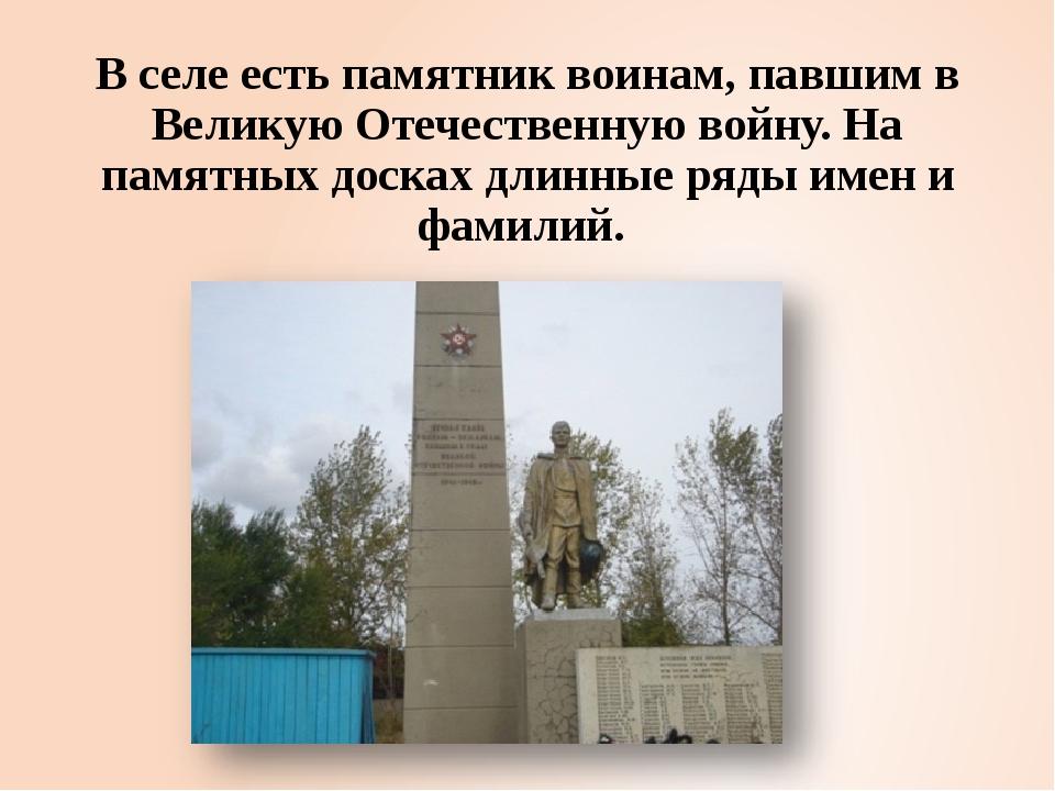 В селе есть памятник воинам, павшим в Великую Отечественную войну. На памятны...