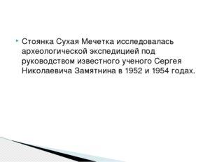 Стоянка Сухая Мечетка исследовалась археологической экспедицией под руководст
