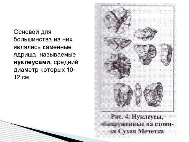 Основой для большинства из них являлись каменные ядрища, называемые нуклеусам...