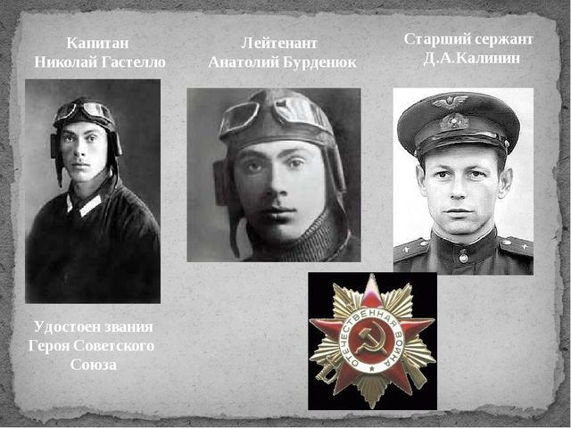 Лейтенант Анатолий Бурденюк Старший сержант Д.А.Калинин Капитан Николай Гасте...