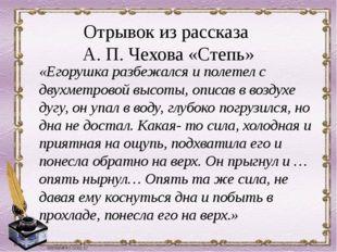 Отрывок из рассказа А. П. Чехова «Степь» «Егорушка разбежался и полетел с дв