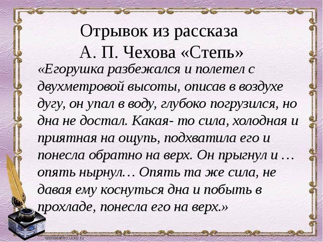 Отрывок из рассказа А. П. Чехова «Степь» «Егорушка разбежался и полетел с дв...