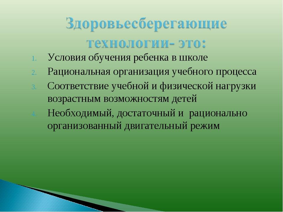Условия обучения ребенка в школе Рациональная организация учебного процесса С...