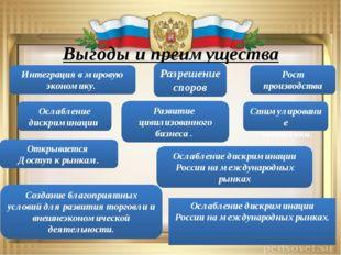 Выгоды и преимущества Ослабление дискриминации Россиина международных рынках