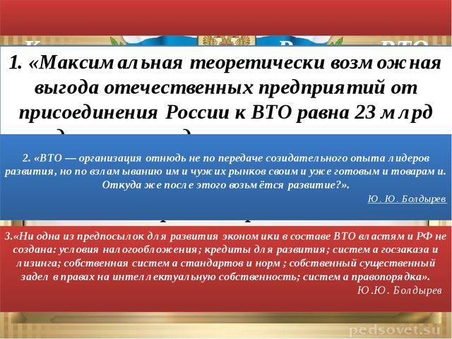 Критика вступления России в ВТО 1. «Максимальная теоретически возможная выго...
