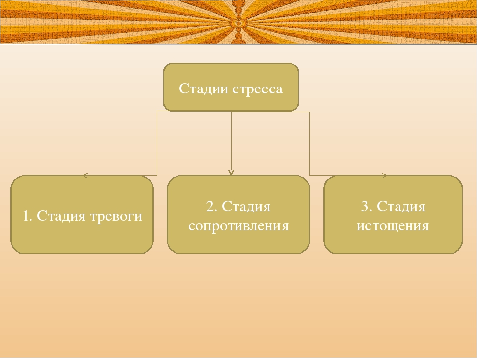 Стадии стресса 1. Стадия тревоги 2. Стадия сопротивления 3. Стадия истощения