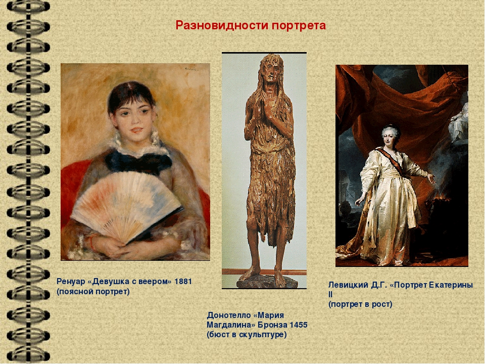Ренуар «Девушка с веером» 1881 (поясной портрет) Донотелло «Мария Магдалина»...