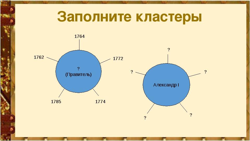 Заполните кластеры ? (Правитель) Александр I 1764 1762 1785 1774 1772 ? ? ? ? ?