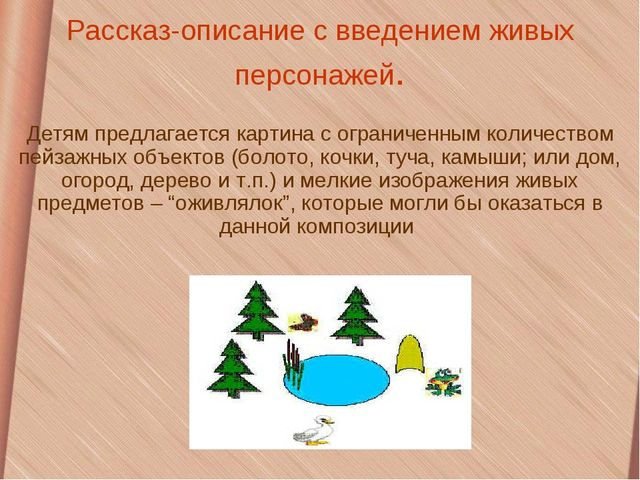 Рассказ-описание с введением живых персонажей. Детям предлагается картина с о...