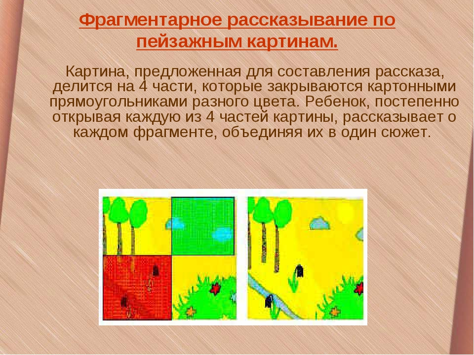 Фрагментарное рассказывание по пейзажным картинам. Картина, предложенная для...