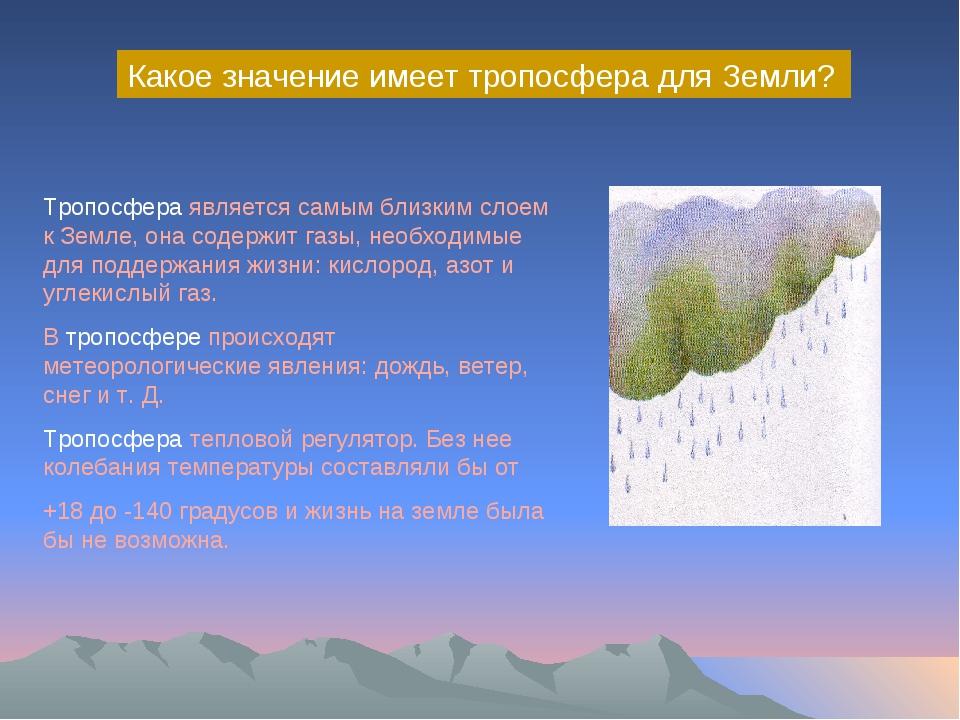 Какое значение имеет тропосфера для Земли? Тропосфера является самым близким...