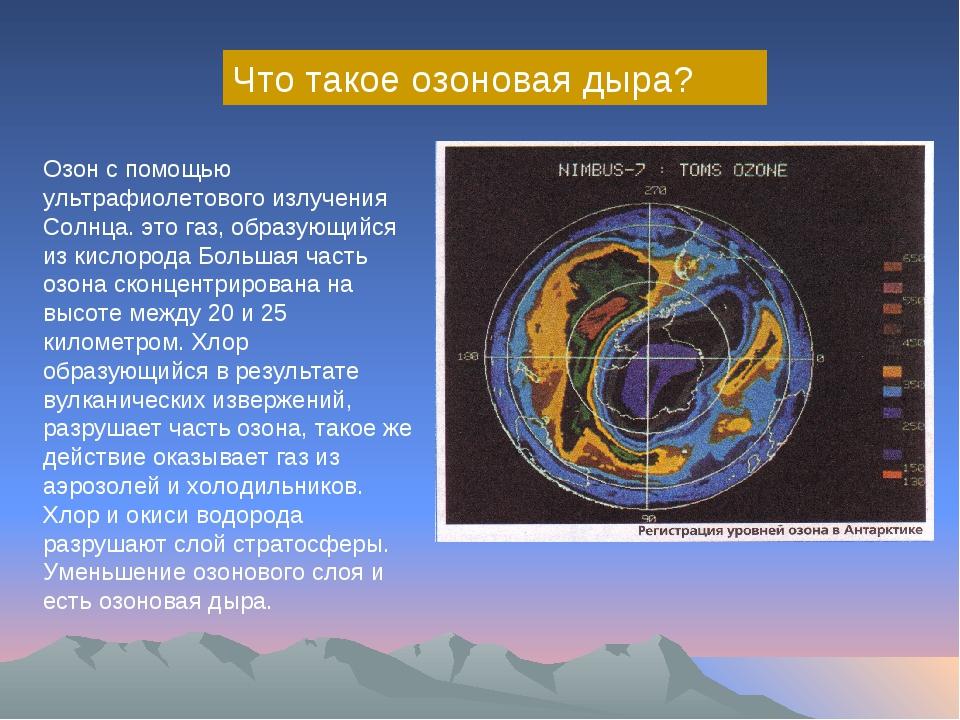 Что такое озоновая дыра? Озон с помощью ультрафиолетового излучения Солнца. э...