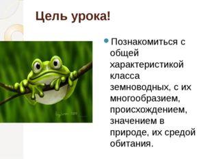 Цель урока! Познакомиться с общей характеристикой класса земноводных, с их мн